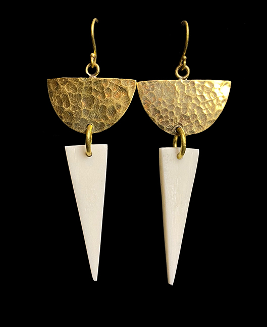 Hammered Brass and Bone Earrings - Kenya - Sold out
