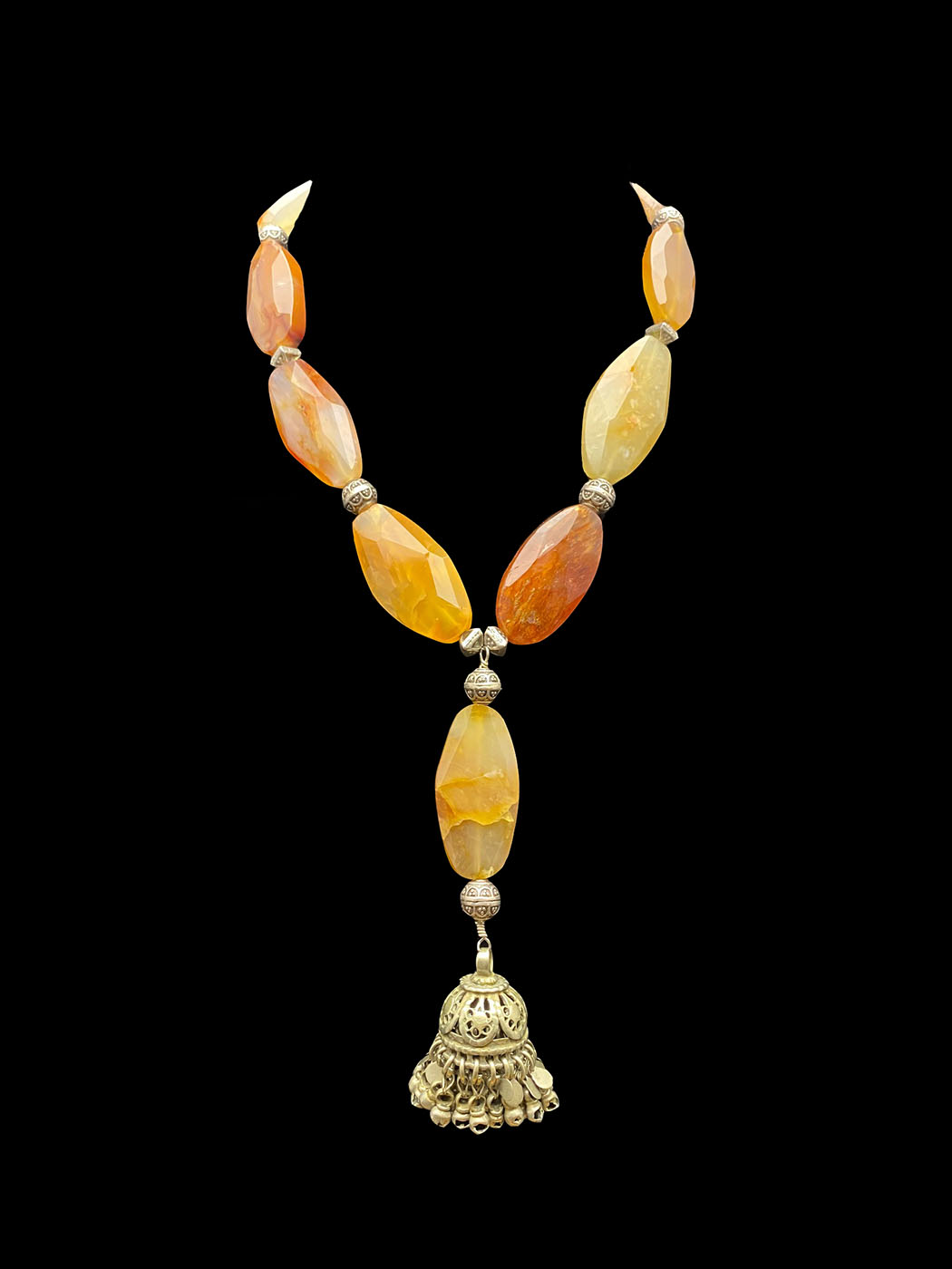 Tribal Silver Central Bead with Carnelian Necklace- CBD18