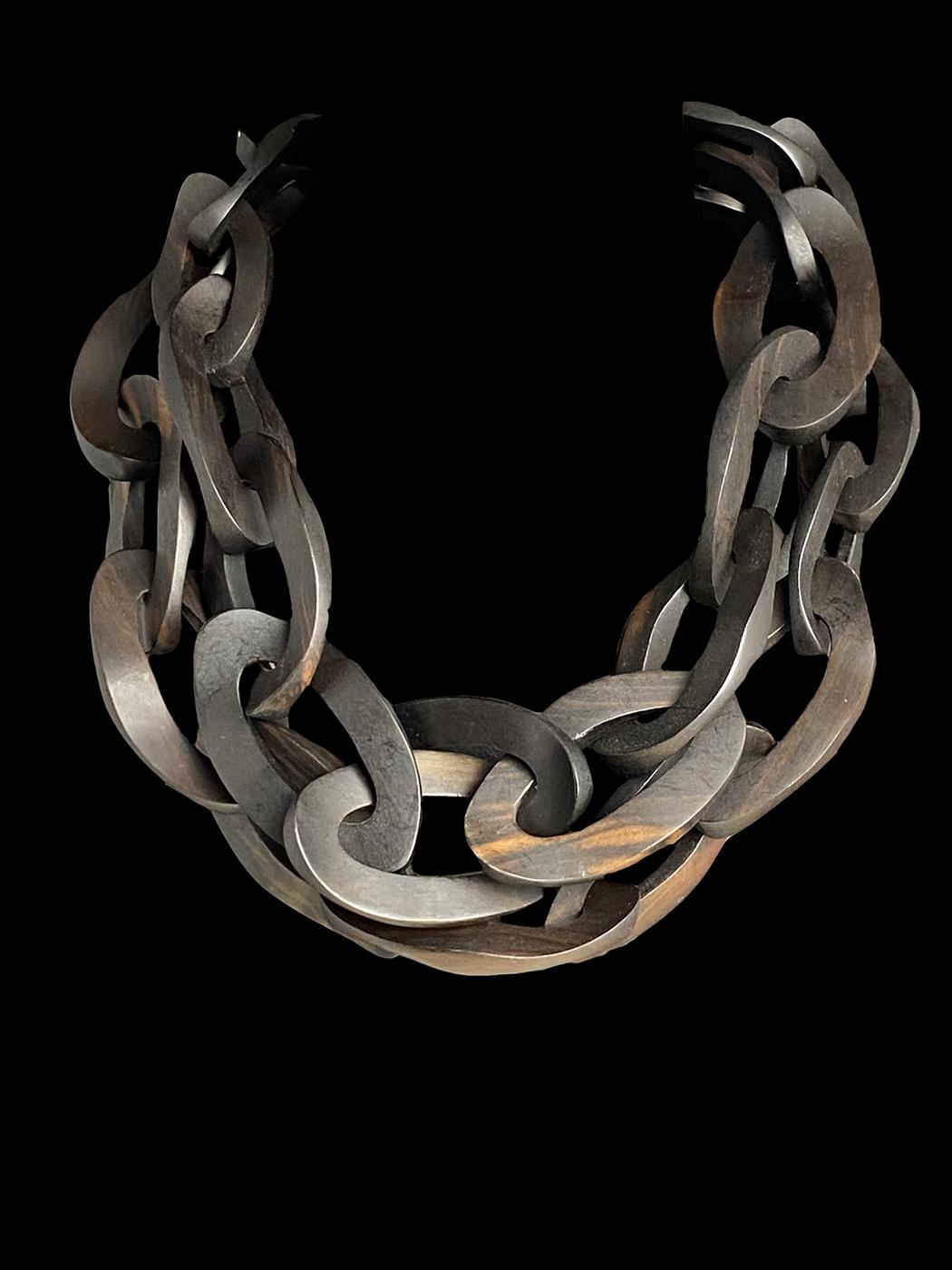 Ebony Wood Link Necklace - Benin