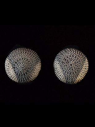 Woven French-Clip Earrings with Sterling Silver Plate (63BWB) - Sold