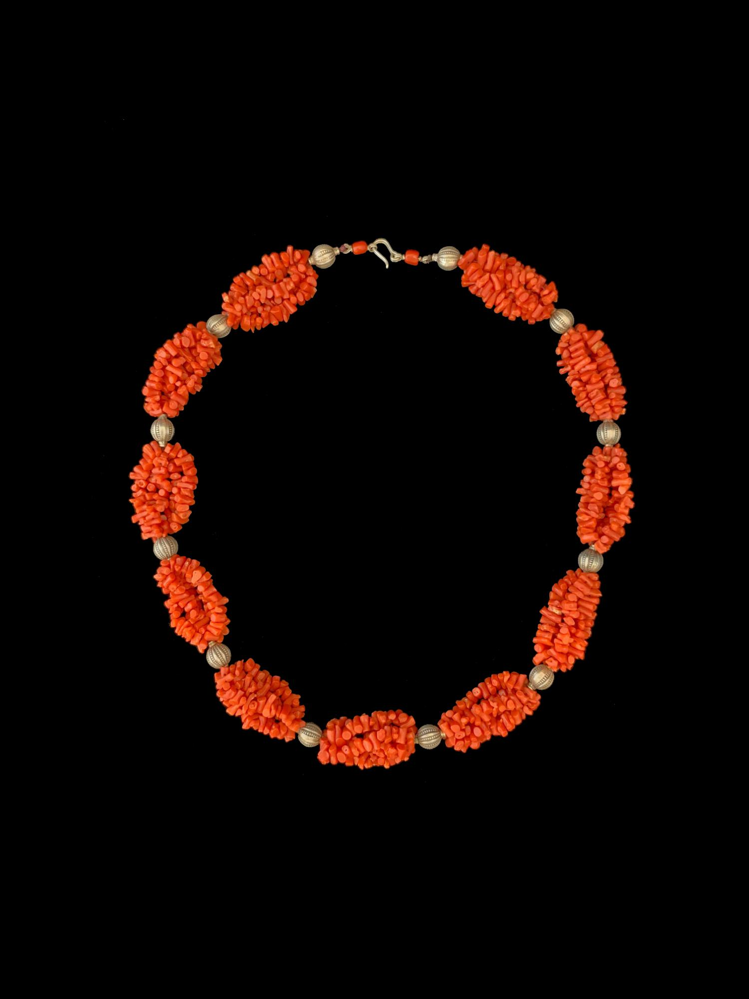 Vintage Mediterranean Coral and Silver bead necklace from Morocco