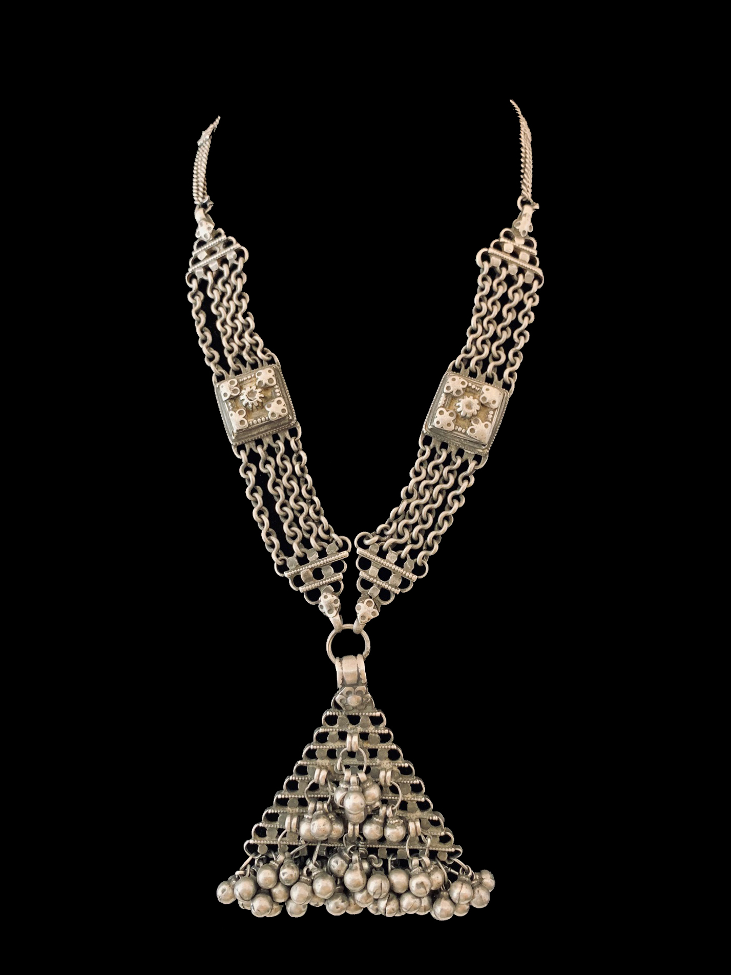Tribal Silver Necklace with Triangular Pendant - India