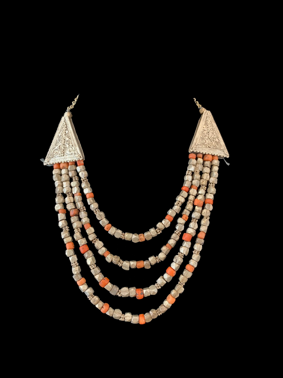 Mediterranean Coral and Tribal Silver Beads as-is, Berber People - Morocco