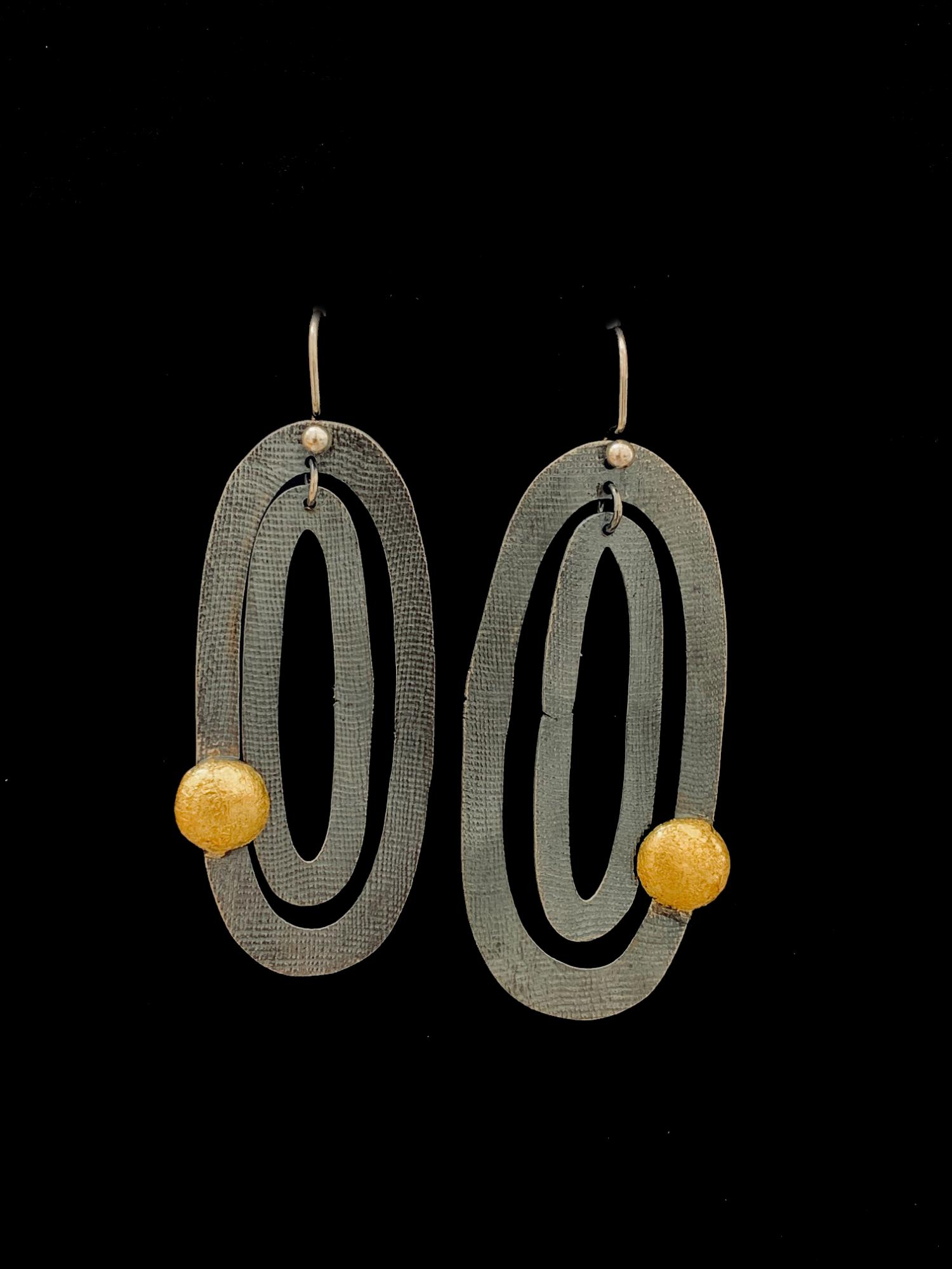 Oxidized Sterling Silver Earrings with Gold Leaf and Sterling Hooks. - Sold