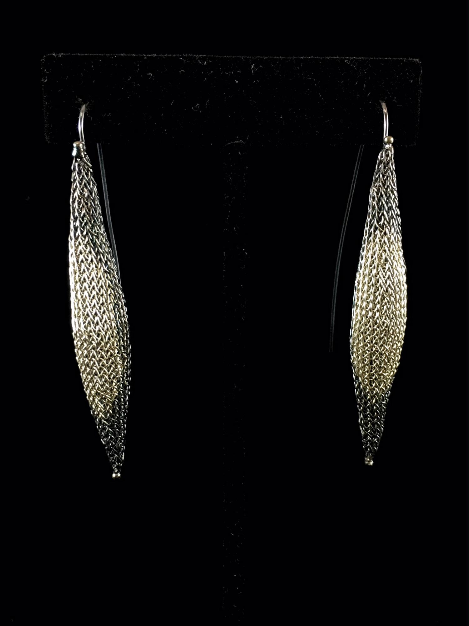 Woven Earrings plated with  Sterling Silver and oxidized (119BW) - Sold