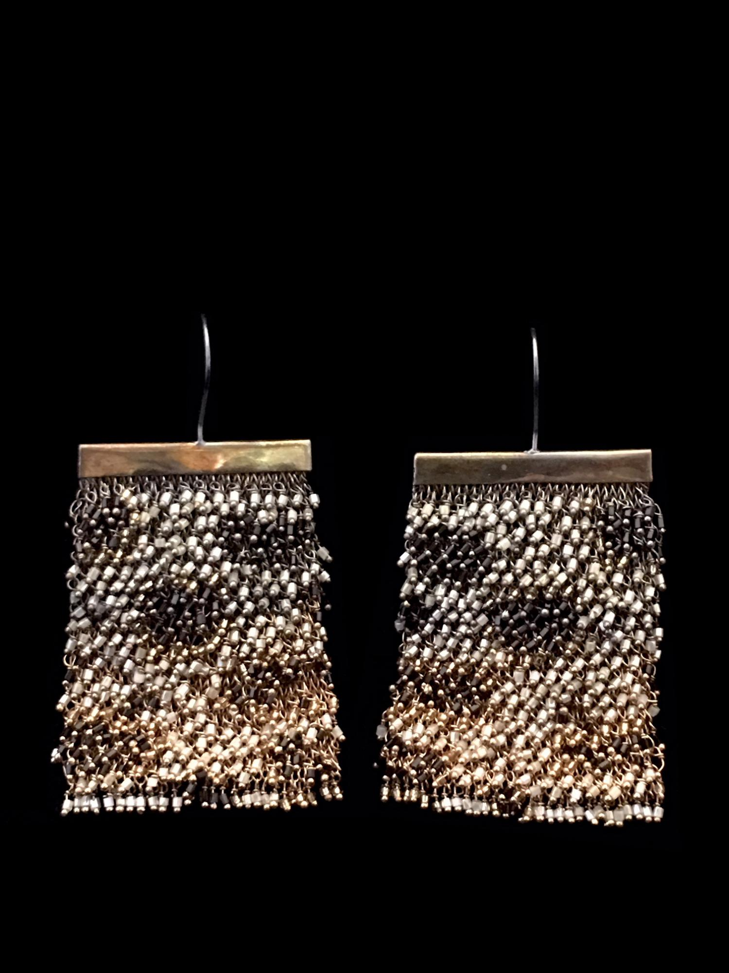 Woven Earrings with Swarovski Crystals (1CHT) - Sold