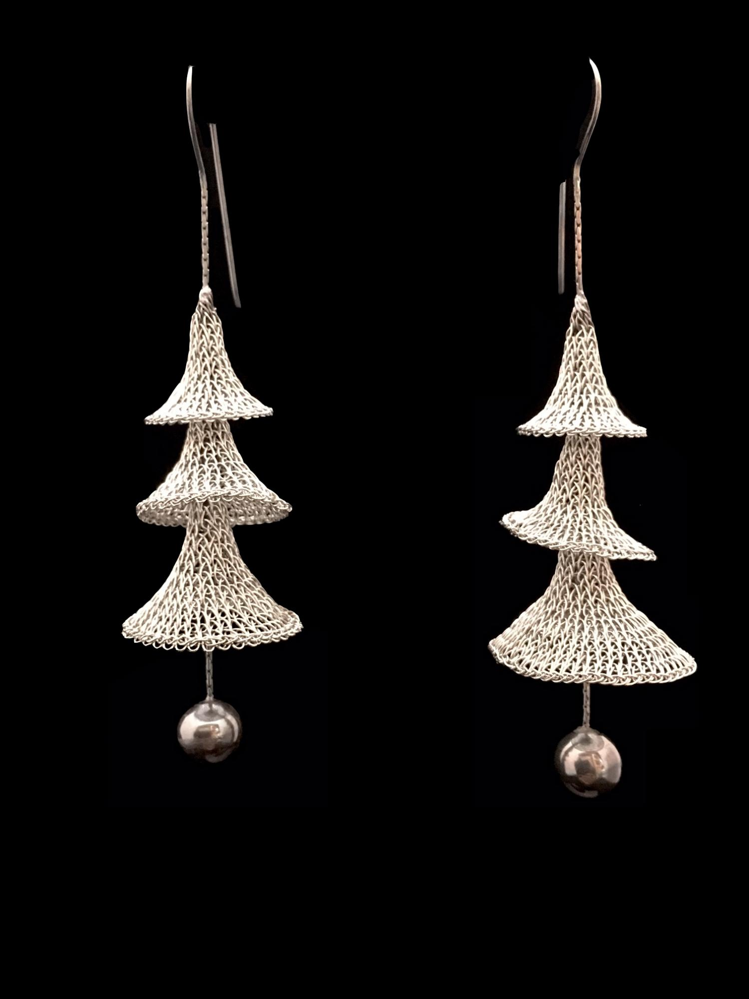 Woven Stainless Steel Earrings (42ST) - Sold
