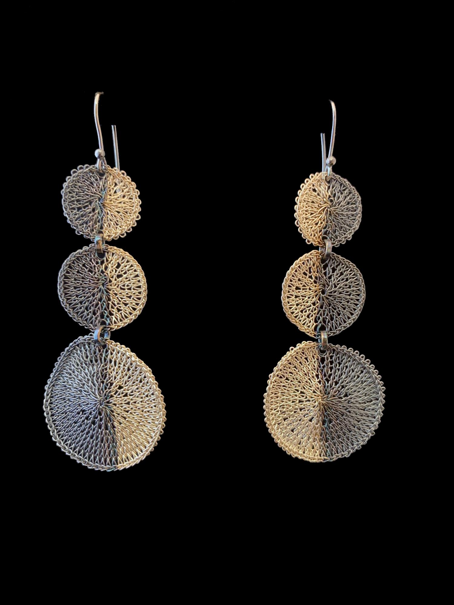 Woven Silver Circle Earrings (61WB) - Sold