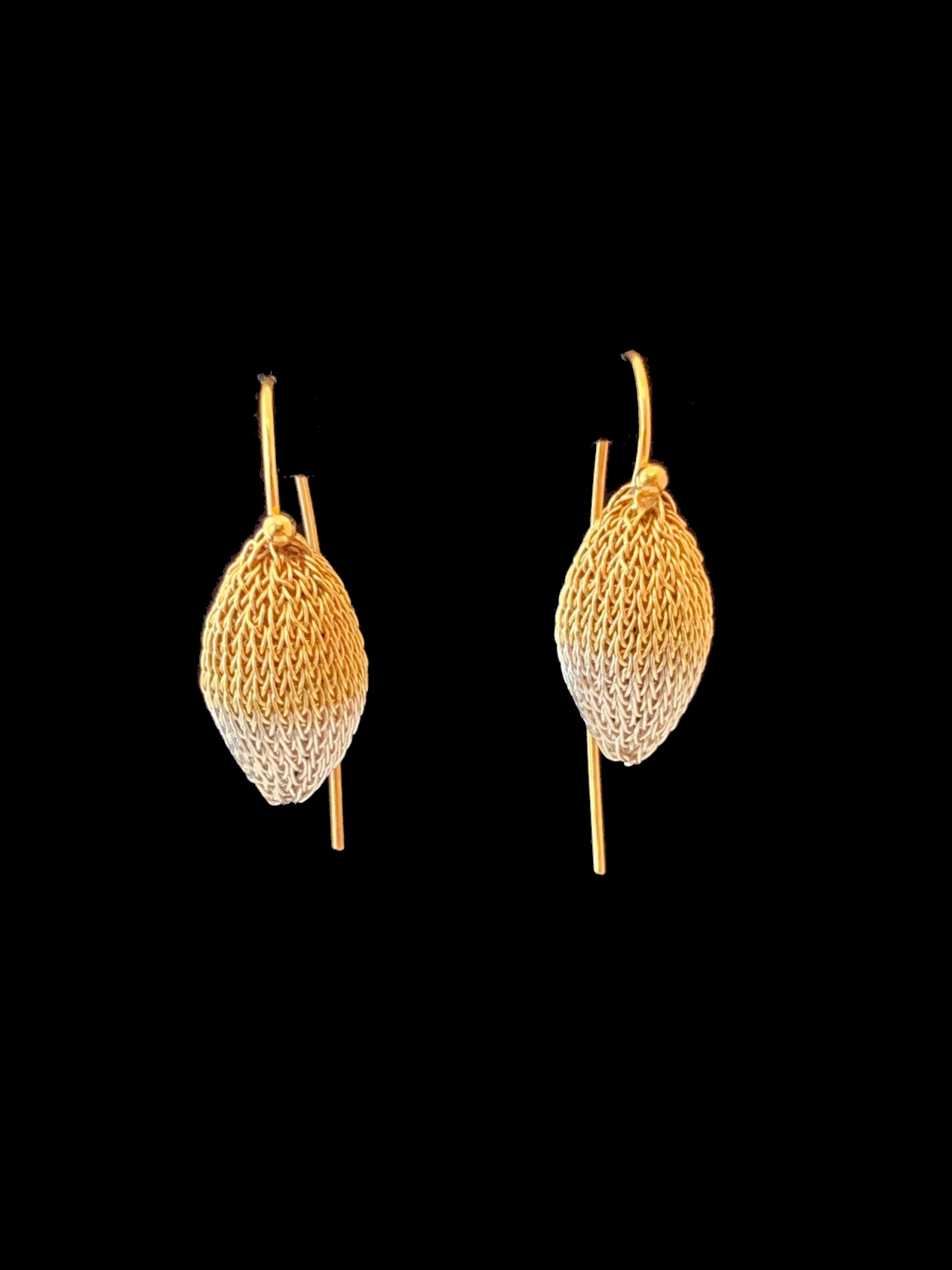 Woven Gold and Silver 'Pod' Earrings (70GW) - Sold