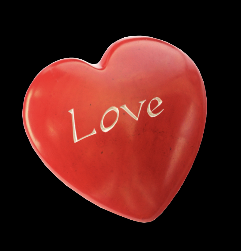 Soapstone heart with the word  love etched in  - Kenya