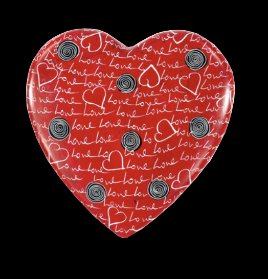 Soapstone heart with love etched in - love, love, love - Kenya