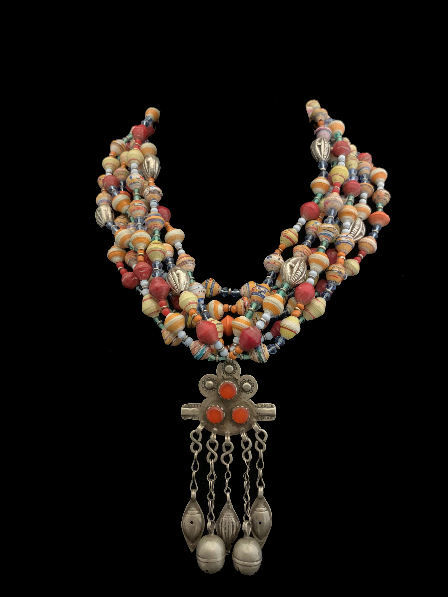 Turkmen (or Turkoman) pendant, Afghanistan, and beaded necklace - ML1