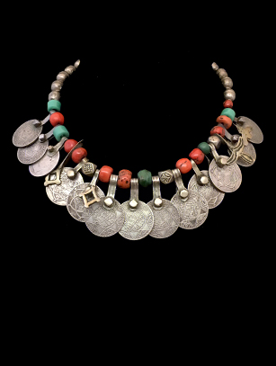 Old Moroccan Coin Necklace with Coral - Morocco - Sold