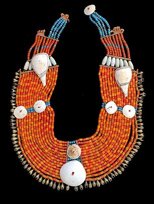 Orange Beaded Pectoral Ornament - Naga People, Nagaland, North