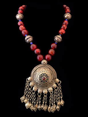Old Afghani Necklace with Foiled Glass - Afghanistan (BR269)