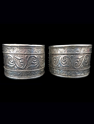 Pair of Contemporary Sterling Silver Cuffs (#2) - Central Asia