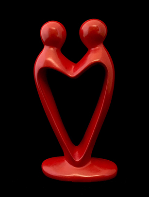 'Lovers Heart' - Red Soapstone, Kenya ( Also in black )