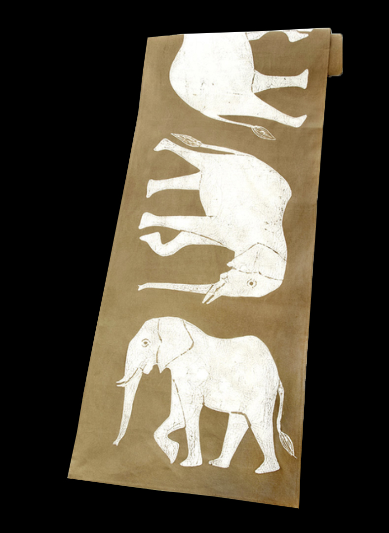 Elephant Batik Table Runner/ Wall Hanging, Luangwa Valley Zambia