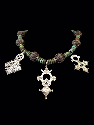 Turquoise Necklace with African Pendants - BR267