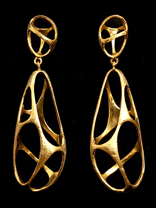 Contemporary Brushed Gold Vermeil Earrings - Temporarily Sold out