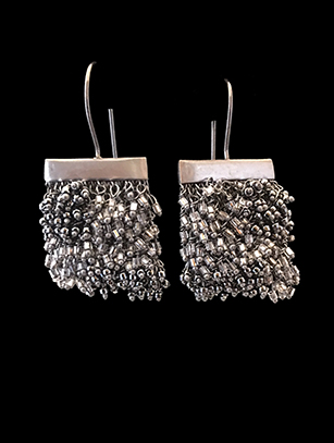 Woven Earrings with Swarovski Crystals (1BW) - Sold