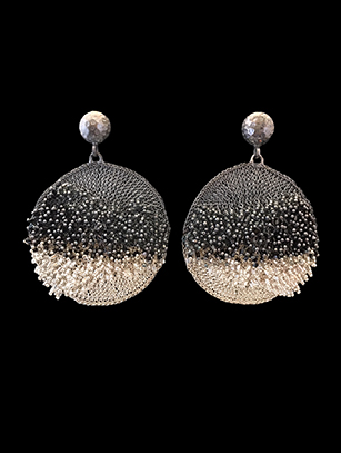 Woven Earrings with Swarovski Crystals (58BW) - SOLD
