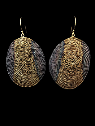 Oval-Shaped Woven Earrings with Sterling & 18k Gold Plate (60OVL) - SOLD