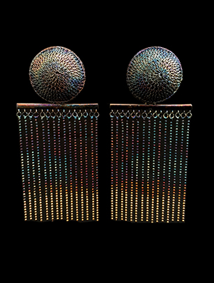 Woven Multi-Colored French Clip Earrings (123BLG) - Sold