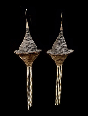 Woven Bicone Earrings with Sterling Silver Plate and Silver Beads (24BWW) ( Special Order Available)