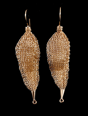 Woven Leaf Earrings (31acg)