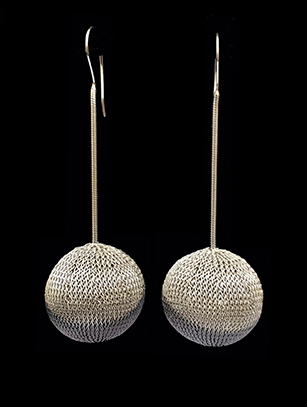 Woven Earrings Plated in Sterling Silver (3BWB) - Sold