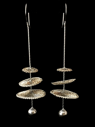 Woven Earrings Plated in Sterling Silver with Pearl (67STT) - SOLD