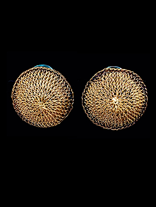 Woven French-Clip Earrings with 18k Gold Plate (64GBL) - SOLD