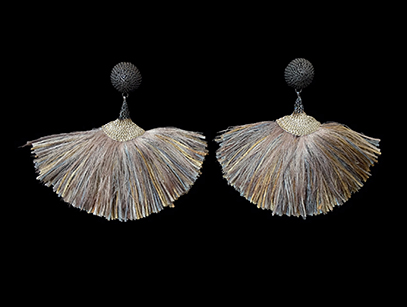 Woven Earrings with Silk Thread (56CML) - Sold