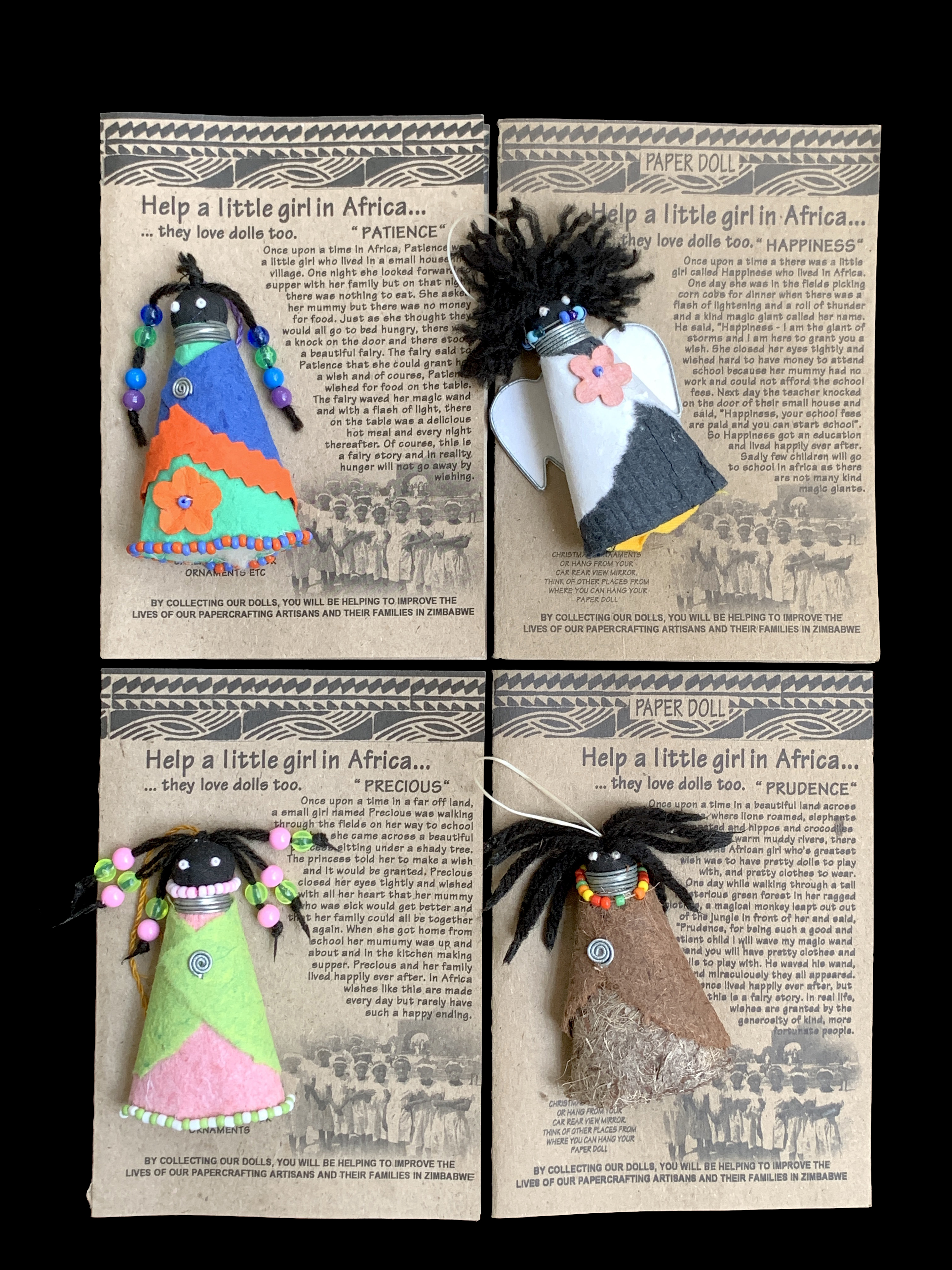 Fair Trade Paper Doll Cards/Ornaments - set of 4 - Zimbabwe