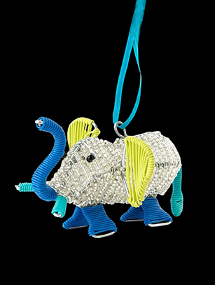 Bead & Wire Elephant Ornament - South Africa