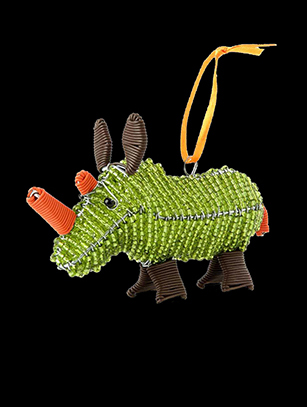 Bead & Wire Rhino Ornament - South Africa