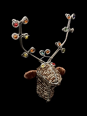 Bead & Wire Brown Reindeer Head Ornament - South Africa