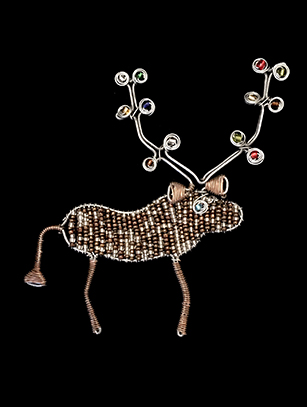 Bead & Wire Brown Reindeer Flat Ornament - South Africa