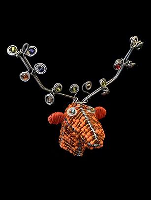 Bead & Wire Orange Reindeer Head Ornament - South Africa