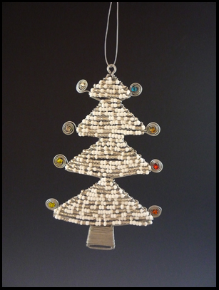 Bead and Wire White Christmas Tree