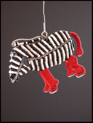 Bead & Wire Zebra Ornament - South Africa