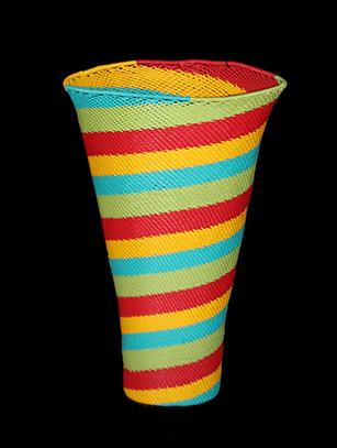 Multi-Colored Telephone Cable Wire Basket - Zulu People, South Africa