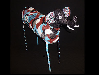 Large Beaded Blue Elephant