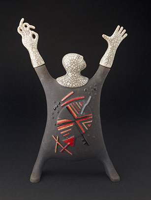 Raku Man with an Abstract Design - South Africa (Colors may vary from piece shown)